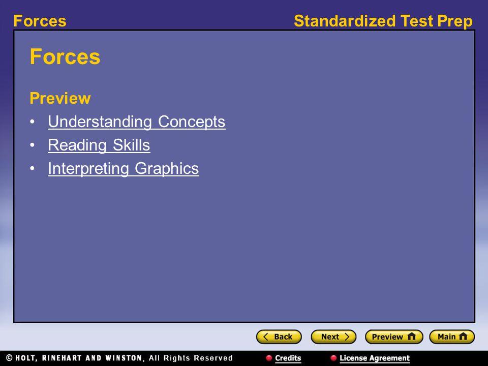 Standardized Test PrepForces Preview Understanding Concepts Reading Skills Interpreting Graphics