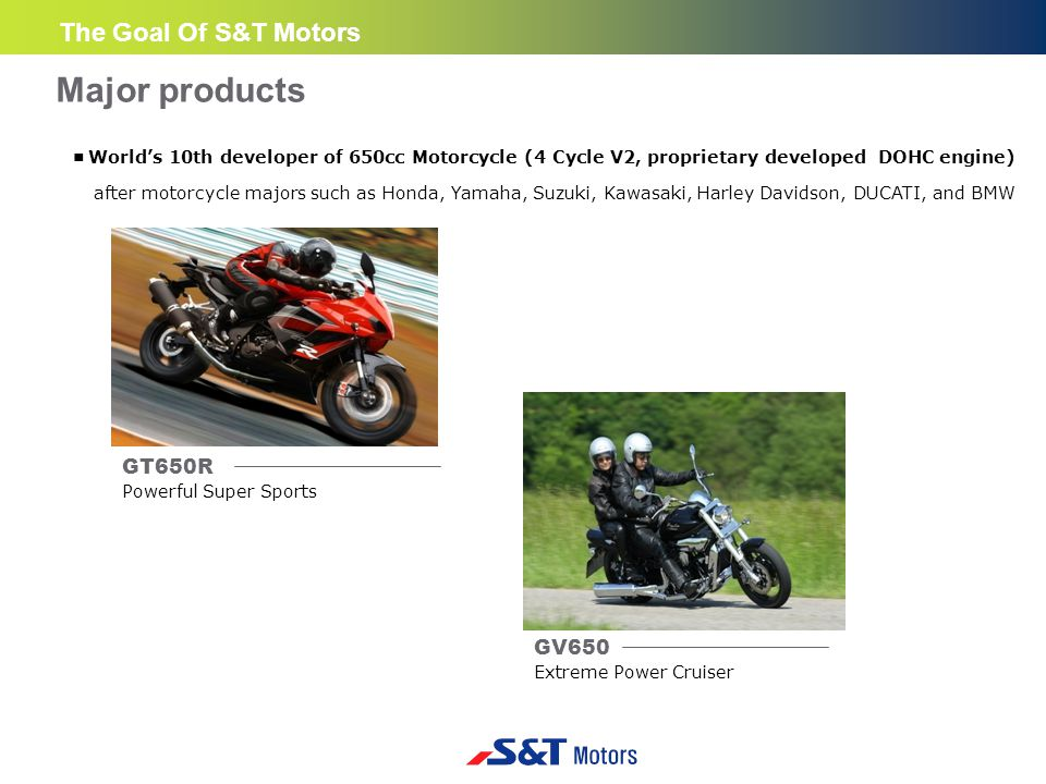 ■ World's 10th developer of 650cc Motorcycle (4 Cycle V2, proprietary developed DOHC engine) after motorcycle majors such as Honda, Yamaha, Suzuki, Kawasaki, Harley Davidson, DUCATI, and BMW GV650 Extreme Power Cruiser GT650R Powerful Super Sports Major products The Goal Of S&T Motors