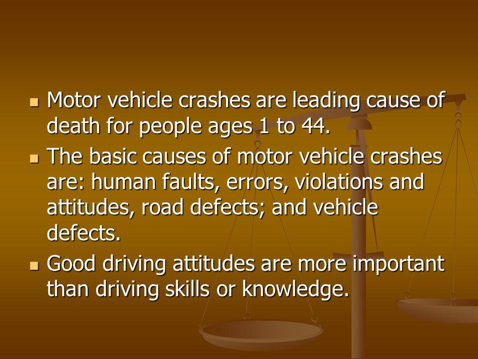 Motor vehicle crashes are leading cause of death for people ages 1 to 44. Motor vehicle crashes are leading cause of death for people ages 1 to 44. Th