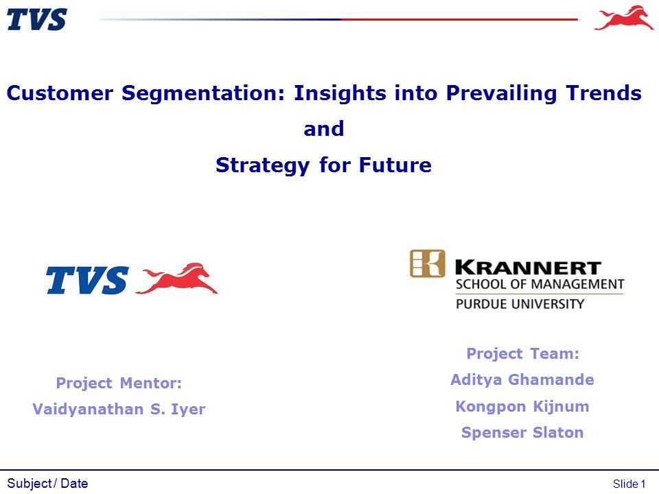 Subject / Date Slide 1 Customer Segmentation: Insights into Prevailing Trends and Strategy for Future Project Team: Aditya Ghamande Kongpon Kijnum Spe