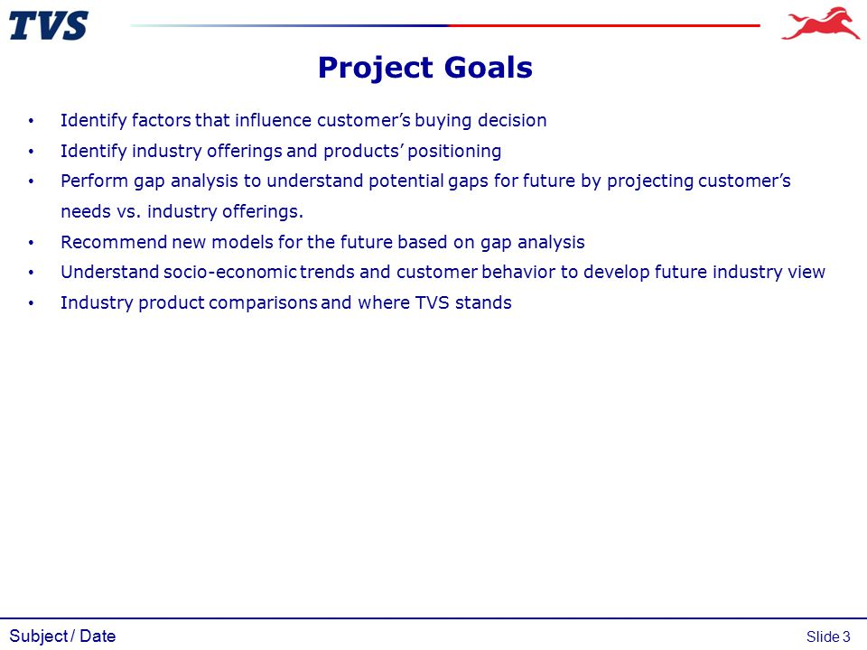 Subject / Date Slide 3 Identify factors that influence customer's buying decision Identify industry offerings and products' positioning Perform gap an