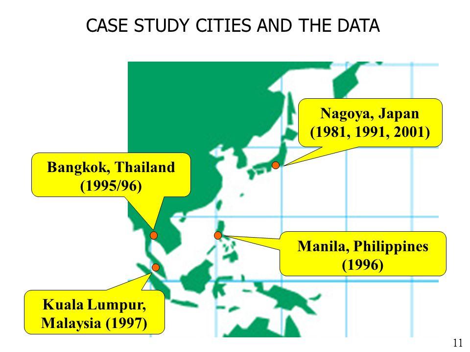 11 CASE STUDY CITIES AND THE DATA Nagoya, Japan (1981, 1991, 2001) Manila, Philippines (1996) Bangkok, Thailand (1995/96) Kuala Lumpur, Malaysia (1997