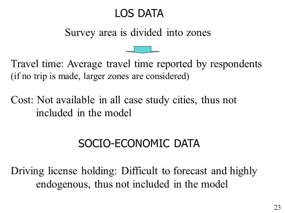 23 LOS DATA Survey area is divided into zones Travel time: Average travel time reported by respondents (if no trip is made, larger zones are considered) Cost: Not available in all case study cities, thus not included in the model SOCIO-ECONOMIC DATA Driving license holding: Difficult to forecast and highly endogenous, thus not included in the model