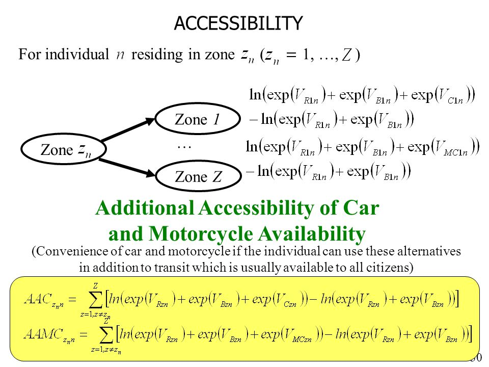30 ACCESSIBILITY For individual residing in zone ( 1, …, ) Additional Accessibility of Car and Motorcycle Availability Zone Zone 1 … Zone Z (Convenience of car and motorcycle if the individual can use these alternatives in addition to transit which is usually available to all citizens)