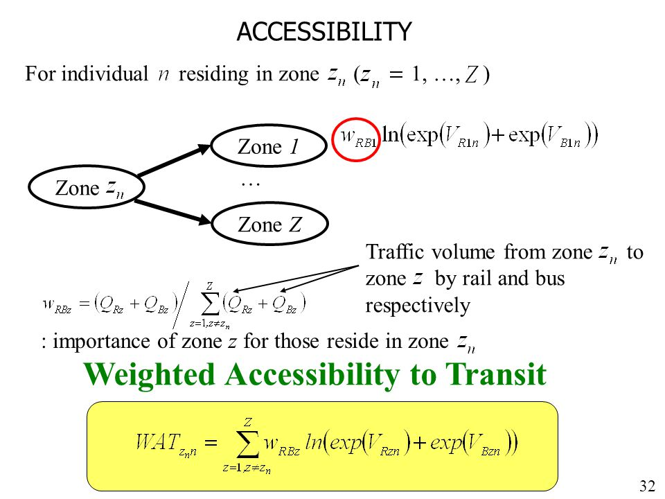 32 ACCESSIBILITY Zone For individual residing in zone ( 1, …, ) Zone 1 … Zone Z Weighted Accessibility to Transit : importance of zone z for those reside in zone Traffic volume from zone to zone by rail and bus respectively