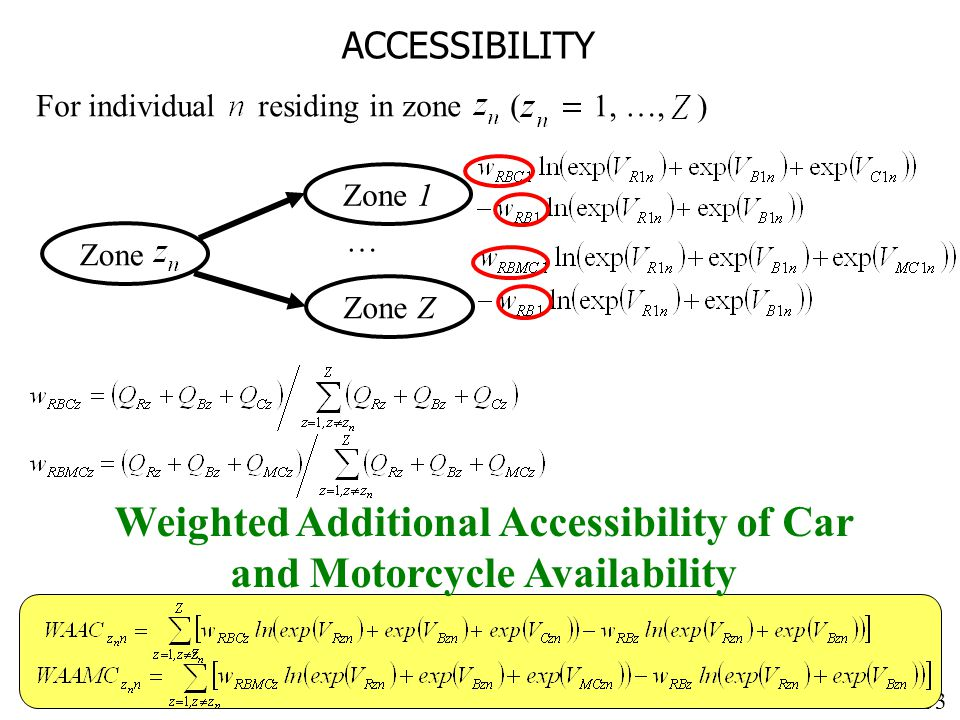 33 ACCESSIBILITY For individual residing in zone ( 1, …, ) Weighted Additional Accessibility of Car and Motorcycle Availability Zone Zone 1 … Zone Z