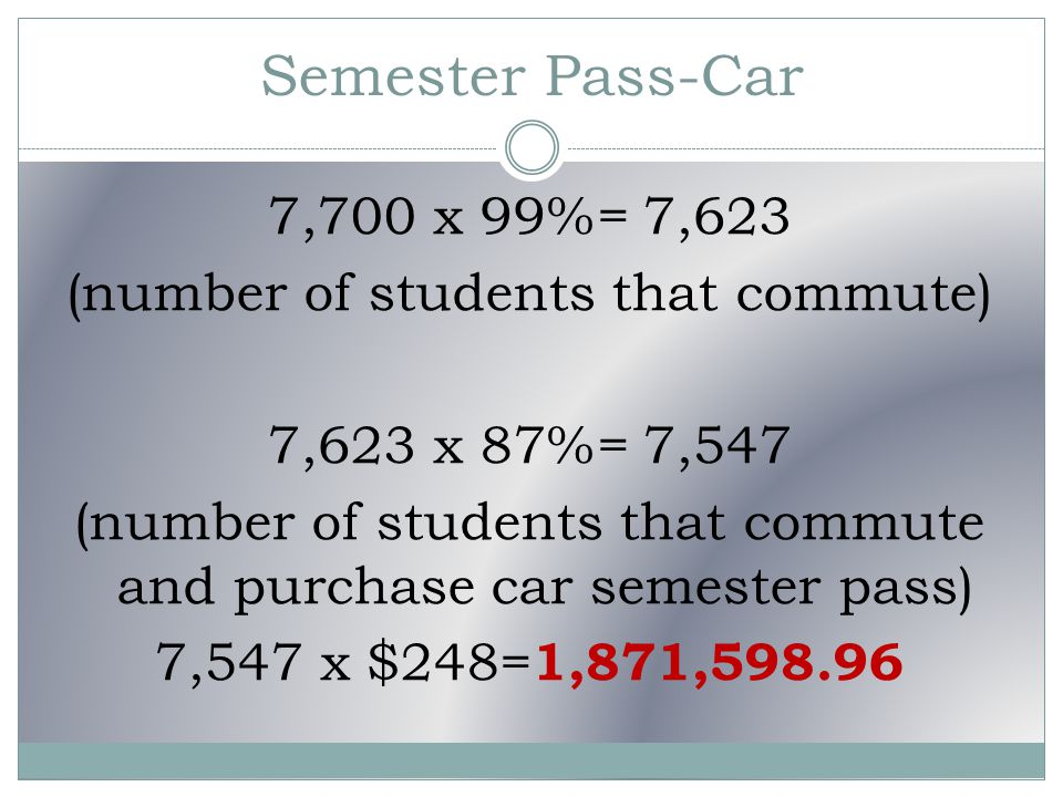 Semester Pass-Car 7,700 x 99%= 7,623 (number of students that commute) 7,623 x 87%= 7,547 (number of students that commute and purchase car semester pass) 7,547 x $248= 1,871,598.96