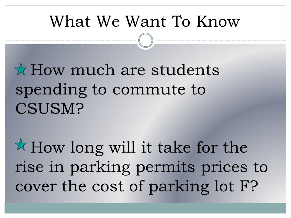 What We Want To Know How much are students spending to commute to CSUSM.
