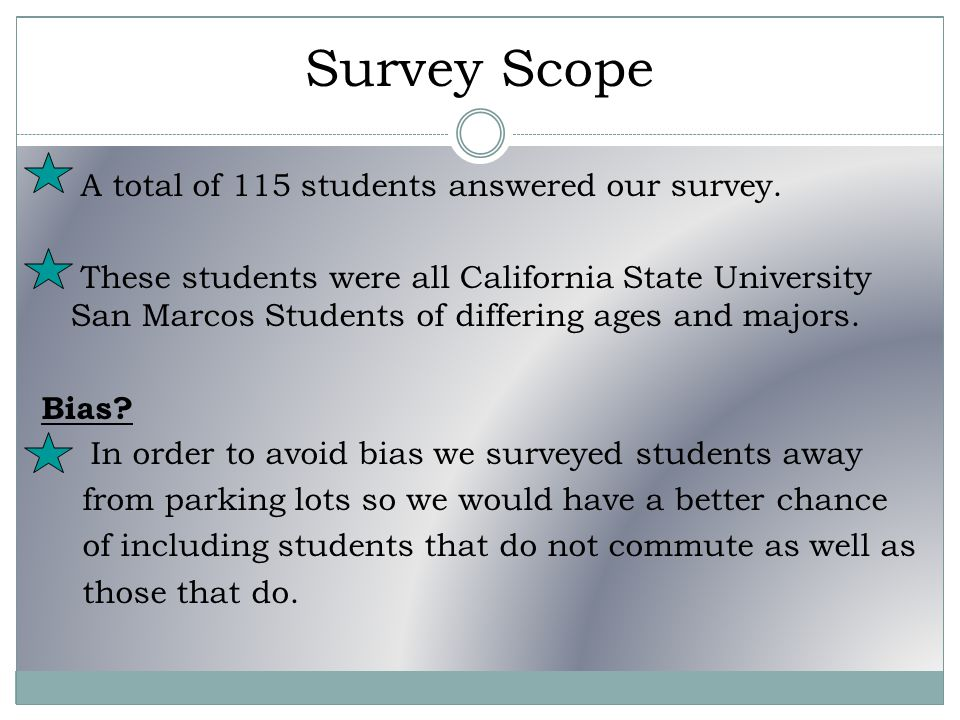 Survey Scope A total of 115 students answered our survey.