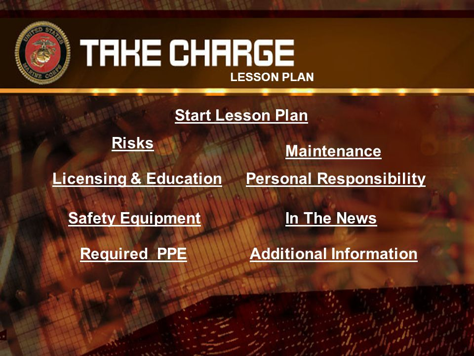 Risks Licensing & Education Safety Equipment Required PPE Maintenance Personal Responsibility In The News Additional Information LESSON PLAN Start Les
