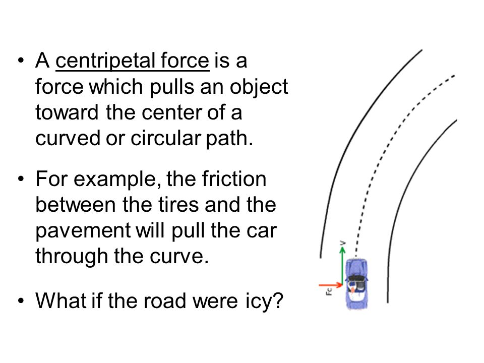 A centripetal force is a force which pulls an object toward the center of a curved or circular path. For example, the friction between the tires and t