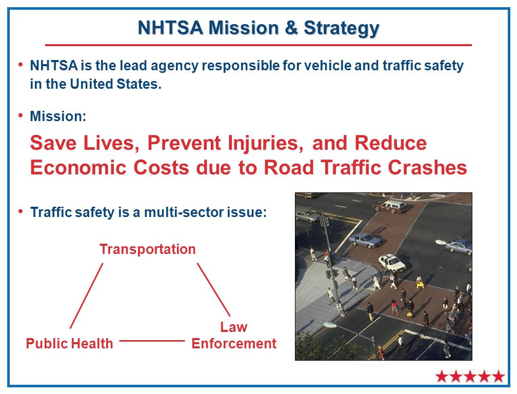 NHTSA Mission & Strategy NHTSA is the lead agency responsible for vehicle and traffic safety in the United States.