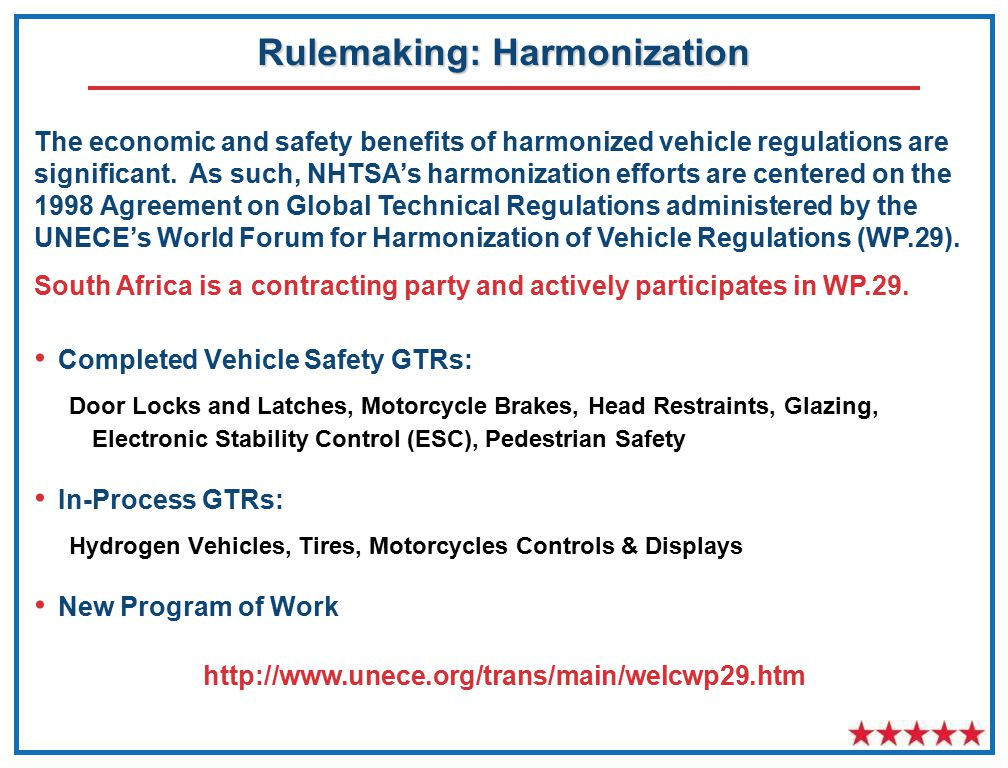 Rulemaking: Harmonization Completed Vehicle Safety GTRs: Door Locks and Latches, Motorcycle Brakes, Head Restraints, Glazing, Electronic Stability Control (ESC), Pedestrian Safety In-Process GTRs: Hydrogen Vehicles, Tires, Motorcycles Controls & Displays New Program of Work The economic and safety benefits of harmonized vehicle regulations are significant.
