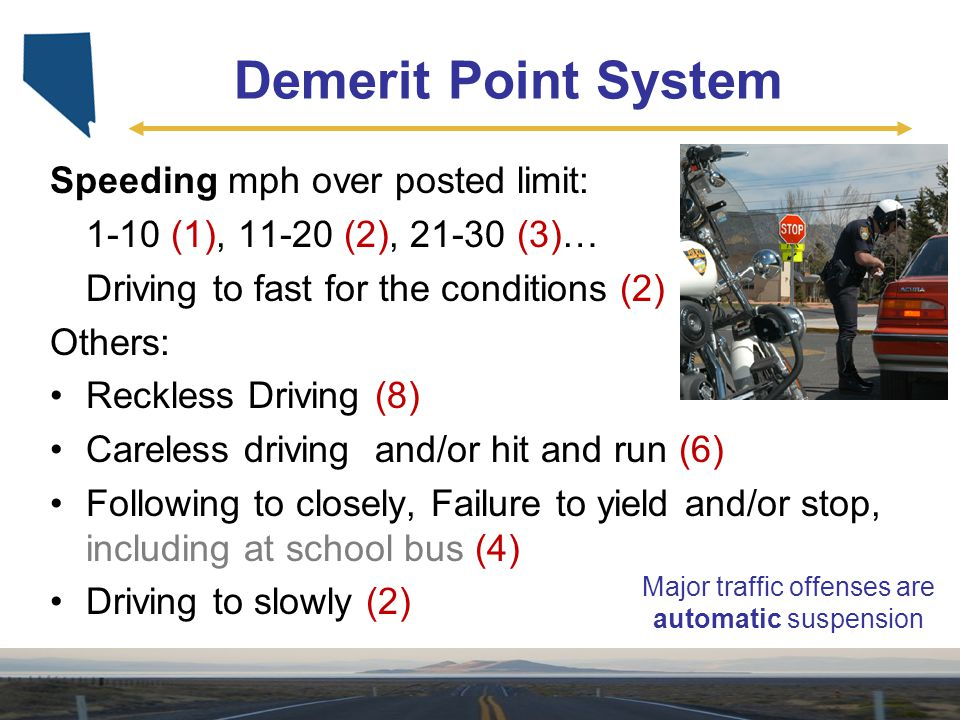 Demerit Point System Speeding mph over posted limit: 1-10 (1), 11-20 (2), 21-30 (3)… Driving to fast for the conditions (2) Others: Reckless Driving (