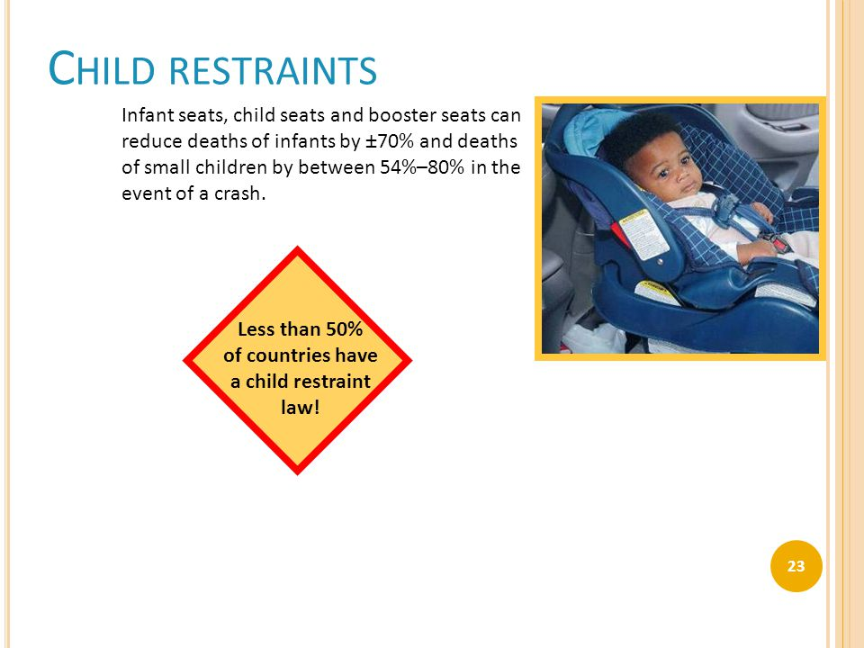 C HILD RESTRAINTS Infant seats, child seats and booster seats can reduce deaths of infants by ±70% and deaths of small children by between 54%–80% in the event of a crash.
