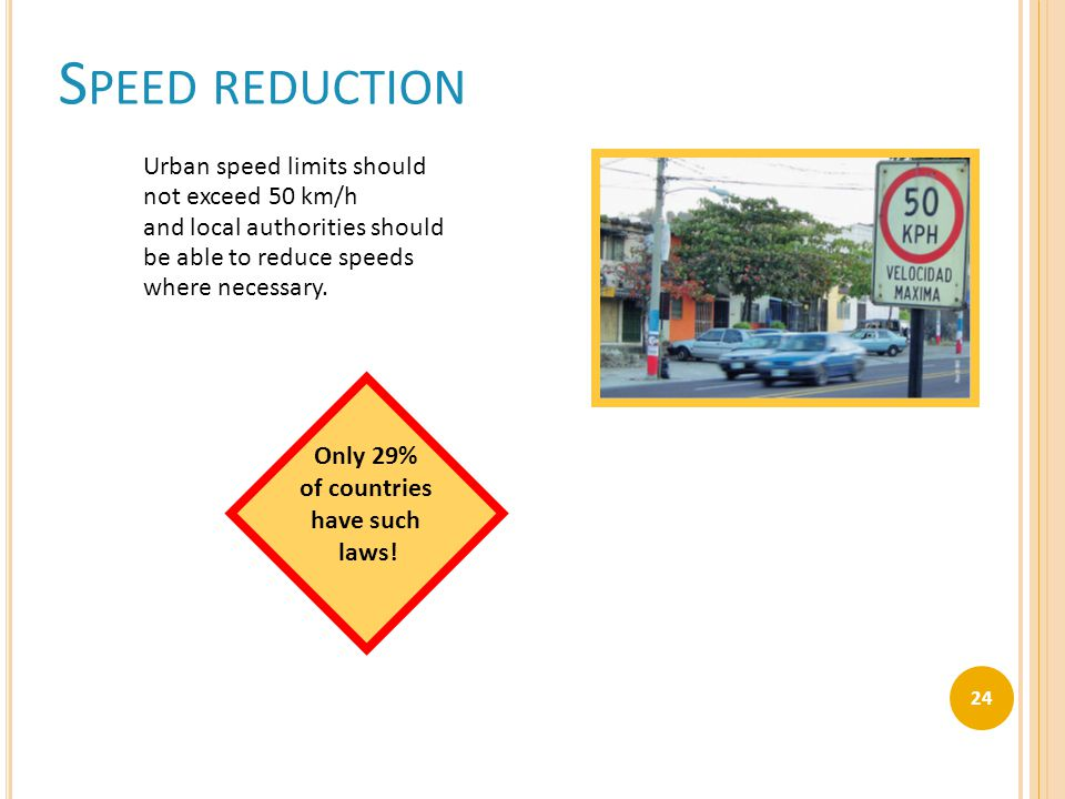 S PEED REDUCTION Urban speed limits should not exceed 50 km/h and local authorities should be able to reduce speeds where necessary. Only 29% of count