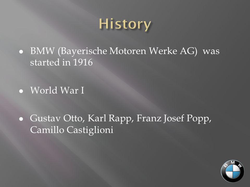BMW (Bayerische Motoren Werke AG) was started in 1916 World War I Gustav Otto, Karl Rapp, Franz Josef Popp, Camillo Castiglioni