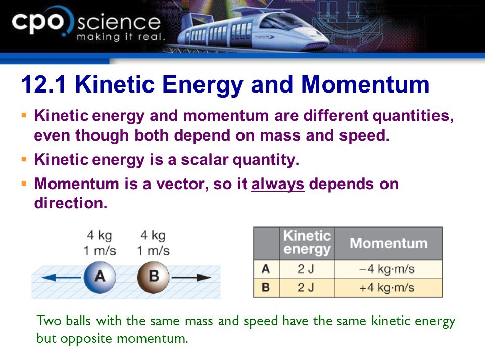 12.1 Kinetic Energy and Momentum  Kinetic energy and momentum are different quantities, even though both depend on mass and speed.  Kinetic energy i