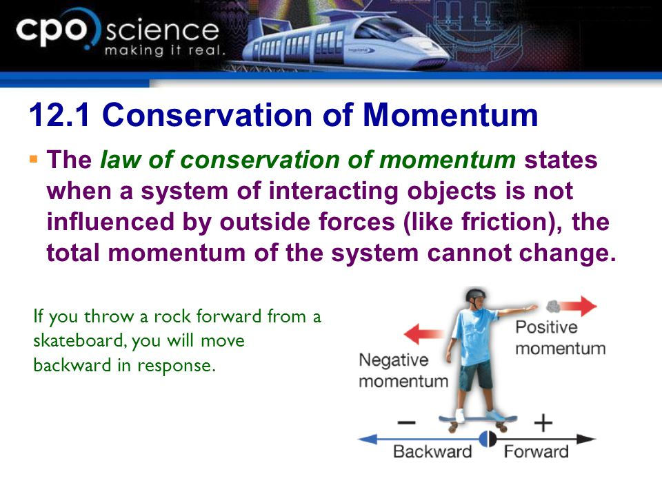 12.1 Conservation of Momentum  The law of conservation of momentum states when a system of interacting objects is not influenced by outside forces (l