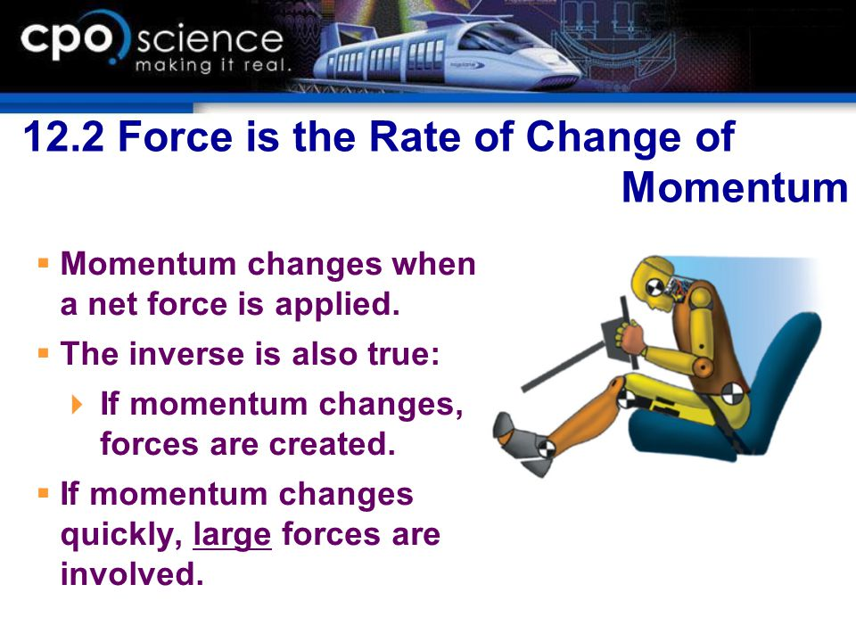 12.2 Force is the Rate of Change of Momentum  Momentum changes when a net force is applied.  The inverse is also true:  If momentum changes, forces