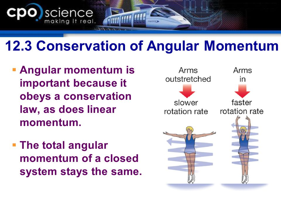12.3 Conservation of Angular Momentum  Angular momentum is important because it obeys a conservation law, as does linear momentum.  The total angula