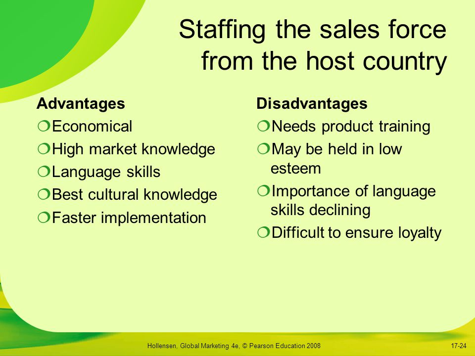Hollensen, Global Marketing 4e, © Pearson Education 200817-24 Staffing the sales force from the host country Advantages  Economical  High market knowledge  Language skills  Best cultural knowledge  Faster implementation Disadvantages  Needs product training  May be held in low esteem  Importance of language skills declining  Difficult to ensure loyalty