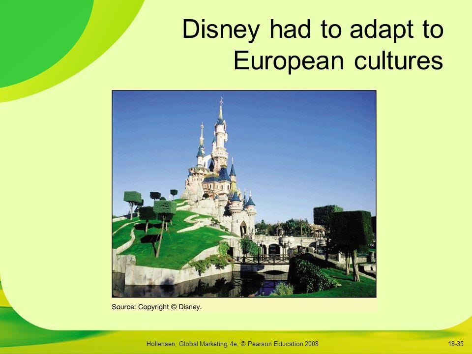 Hollensen, Global Marketing 4e, © Pearson Education 200818-35 Disney had to adapt to European cultures