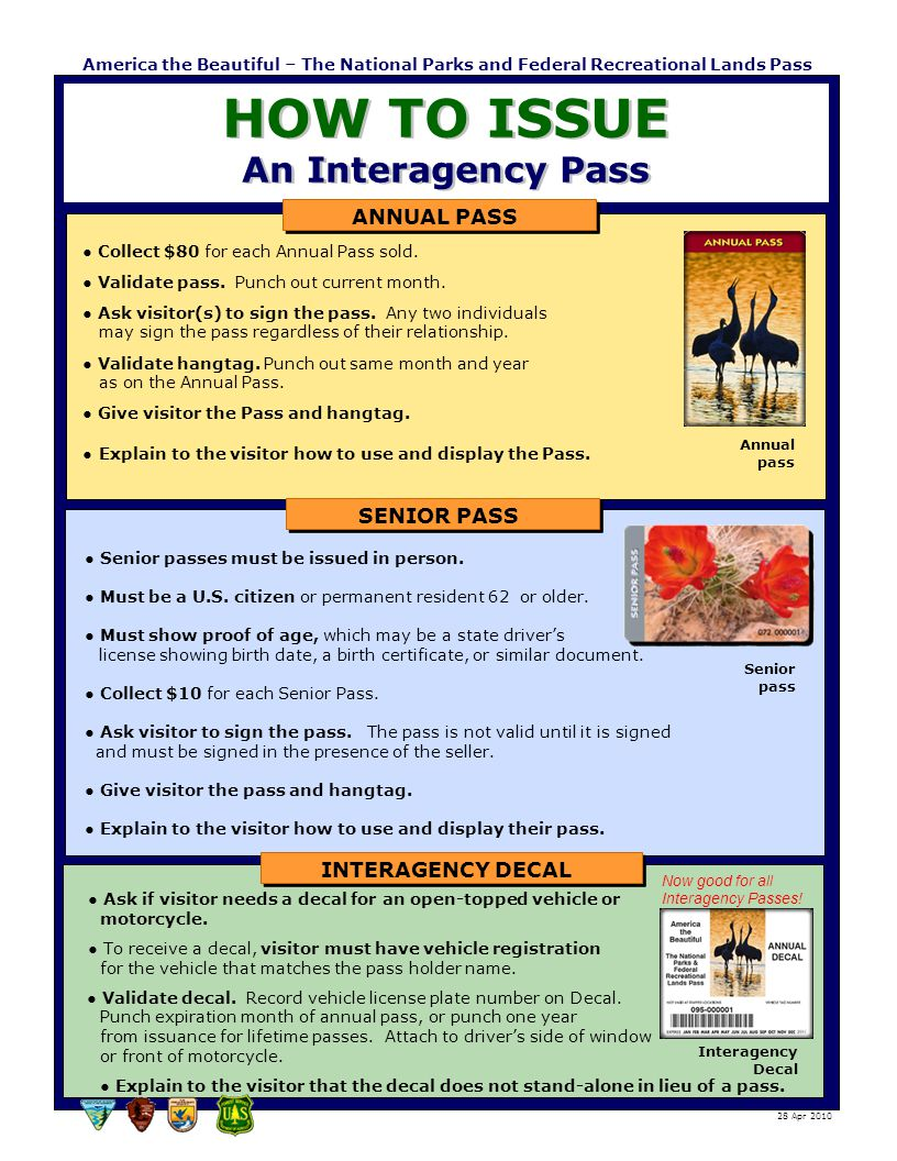 HOW TO ISSUE An Interagency Pass America the Beautiful – The National Parks and Federal Recreational Lands Pass ● Collect $80 for each Annual Pass sol