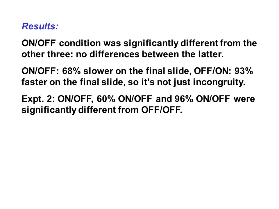 Results: ON/OFF condition was significantly different from the other three: no differences between the latter.