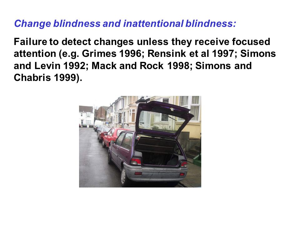 Change blindness and inattentional blindness: Failure to detect changes unless they receive focused attention (e.g.