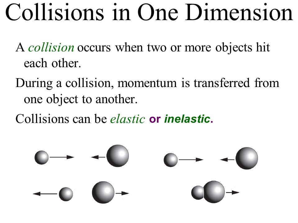 Collisions in One Dimension A collision occurs when two or more objects hit each other.