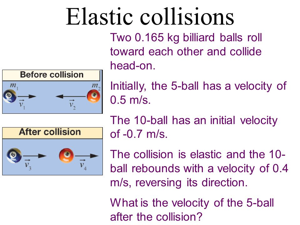 Elastic collisions Two 0.165 kg billiard balls roll toward each other and collide head-on.