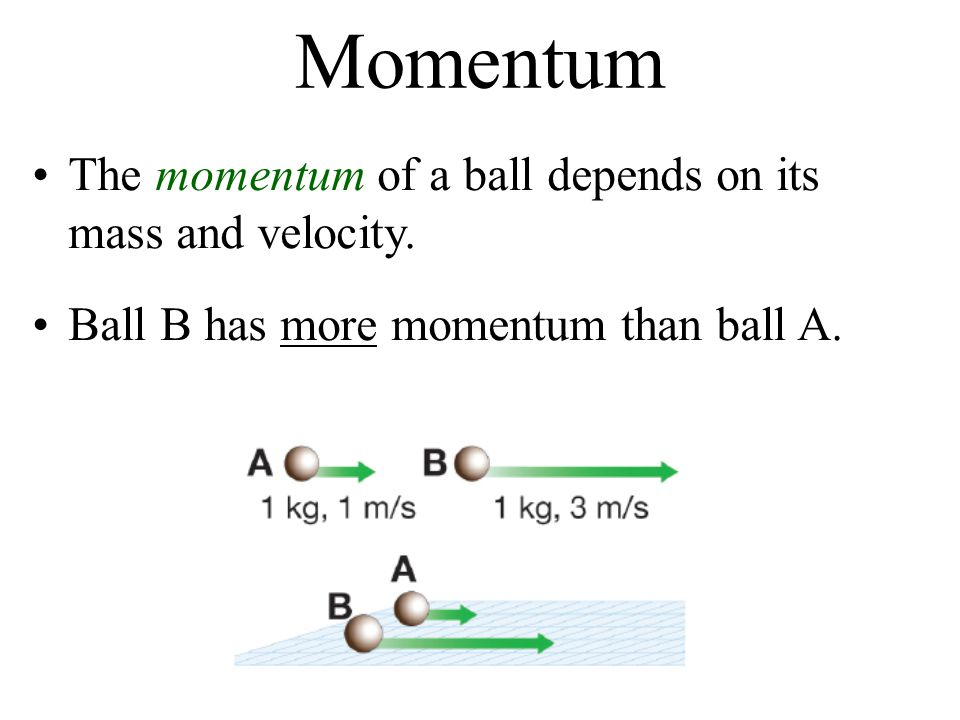 Momentum The momentum of a ball depends on its mass and velocity.