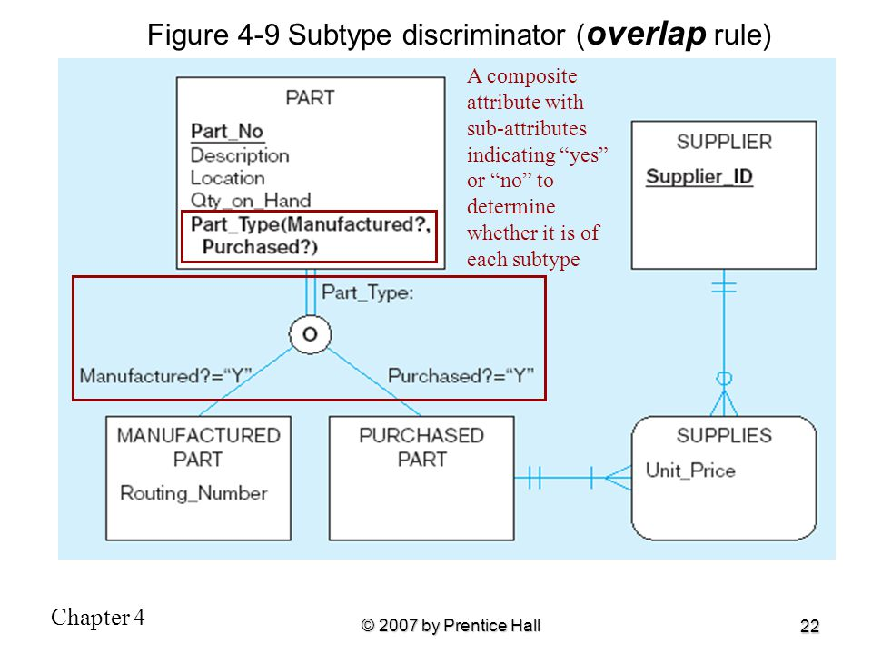 """Chapter 4 © 2007 by Prentice Hall 22 Figure 4-9 Subtype discriminator ( overlap rule) A composite attribute with sub-attributes indicating """"yes"""" or """"n"""