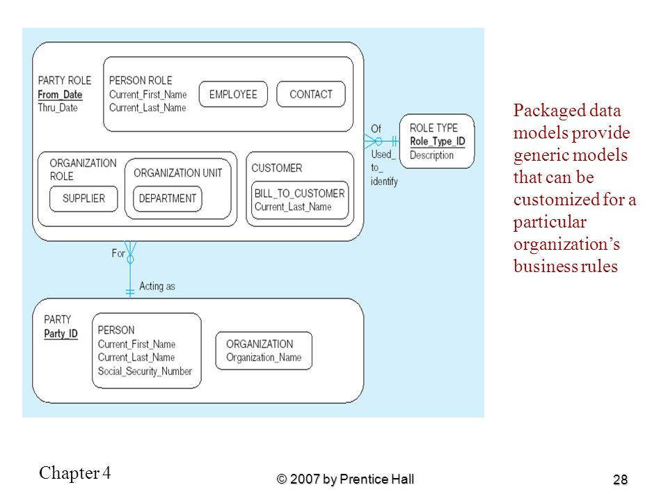Chapter 4 © 2007 by Prentice Hall 28 Packaged data models provide generic models that can be customized for a particular organization's business rules