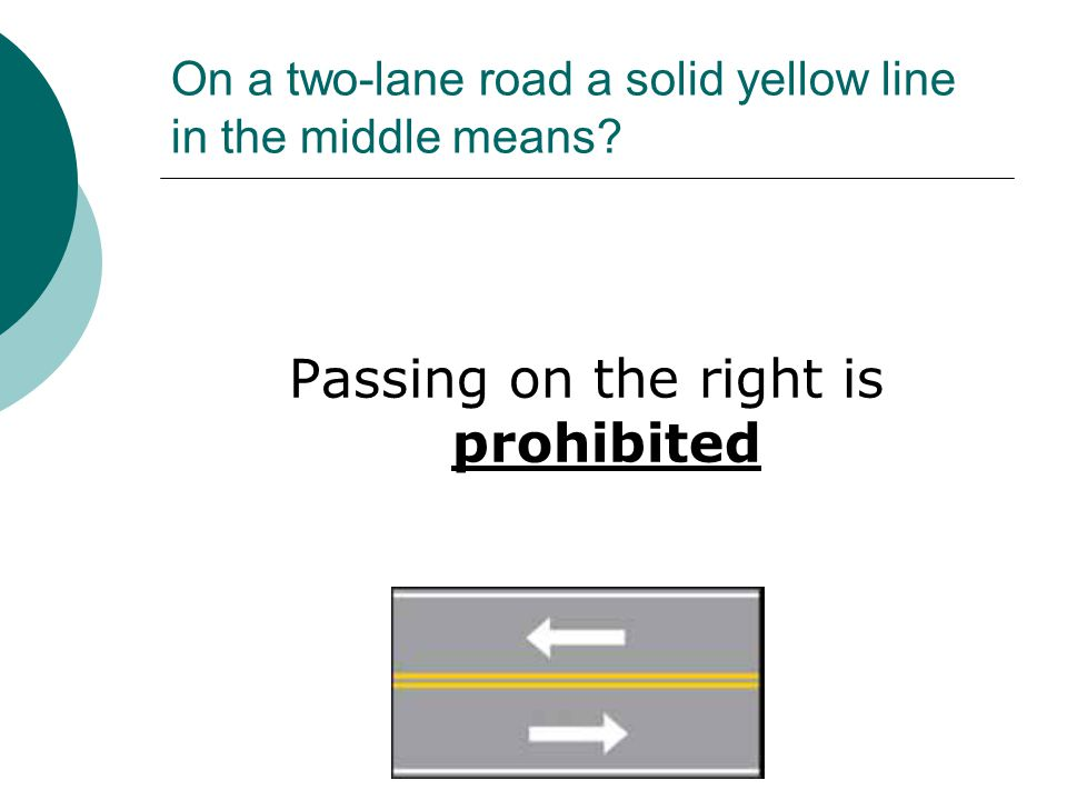 On a two-lane road a solid yellow line in the middle means? Passing on the right is prohibited
