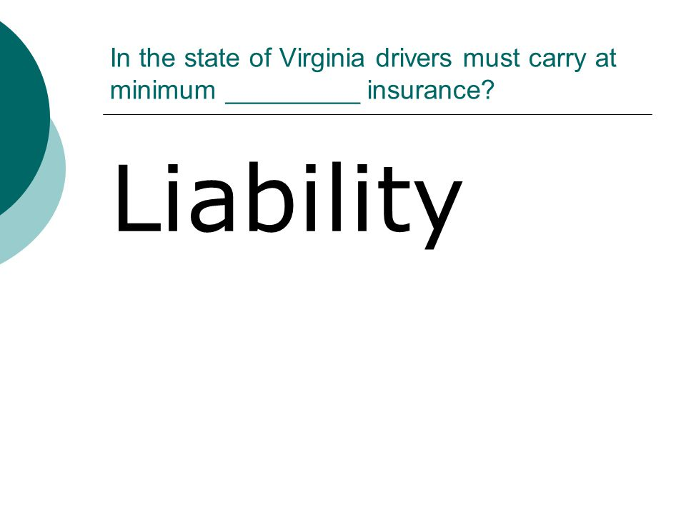 In the state of Virginia drivers must carry at minimum _________ insurance? Liability