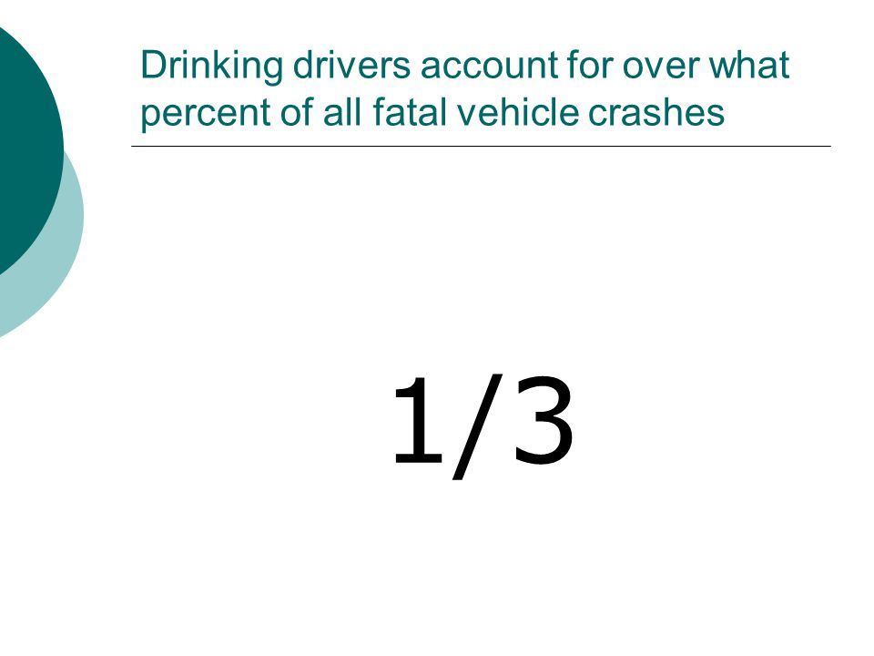 Drinking drivers account for over what percent of all fatal vehicle crashes 1/3