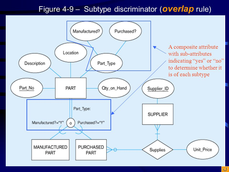 """Figure 4-9 – Subtype discriminator ( overlap rule) A composite attribute with sub-attributes indicating """"yes"""" or """"no"""" to determine whether it is of ea"""
