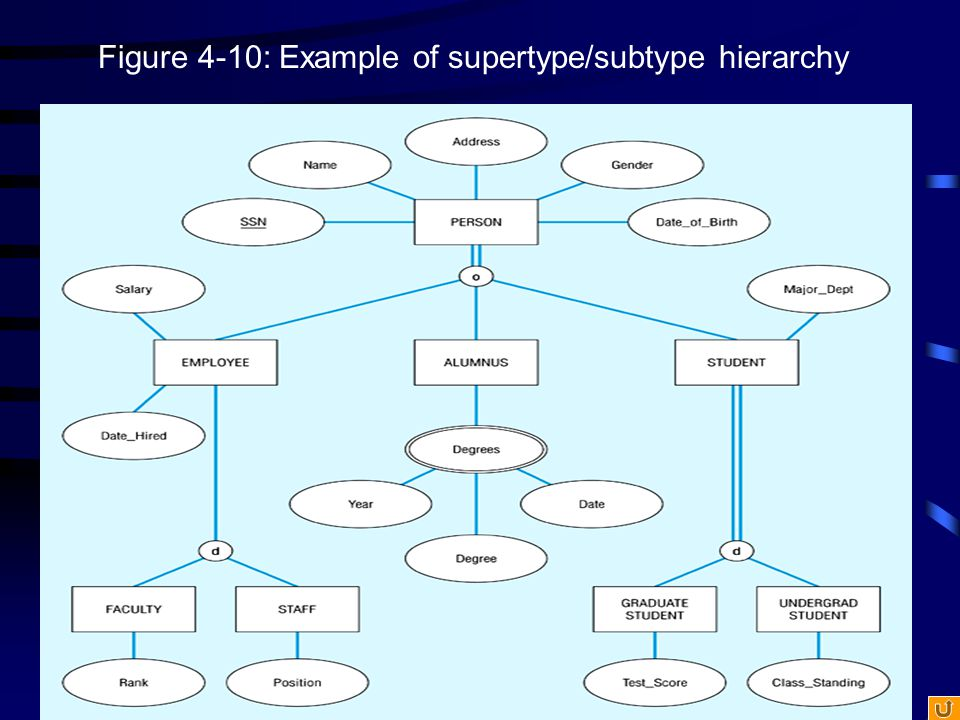 Figure 4-10: Example of supertype/subtype hierarchy