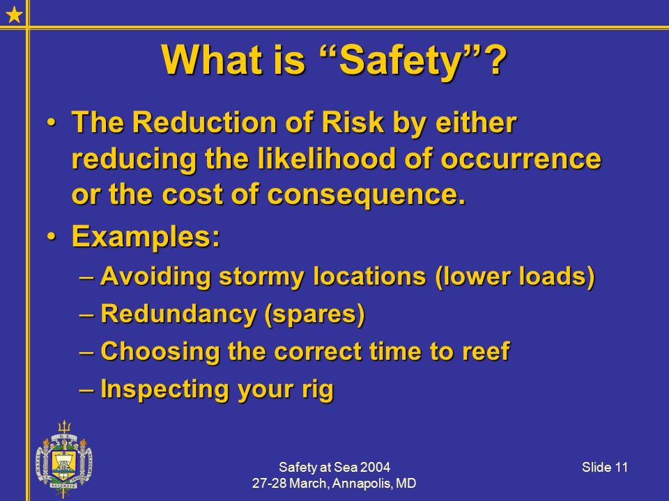 Safety at Sea 2004 27-28 March, Annapolis, MD Slide 11 What is Safety .