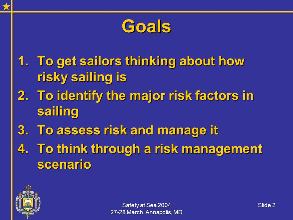 Safety at Sea 2004 27-28 March, Annapolis, MD Slide 23 An Exercise in Risk Mgt.