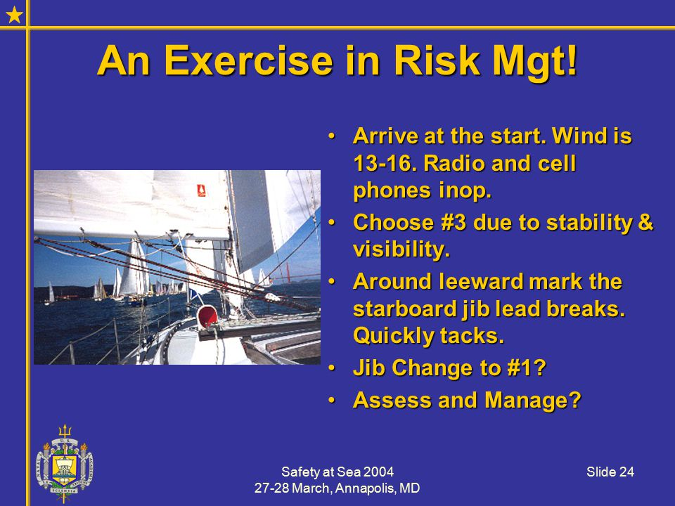 Safety at Sea 2004 27-28 March, Annapolis, MD Slide 24 An Exercise in Risk Mgt.