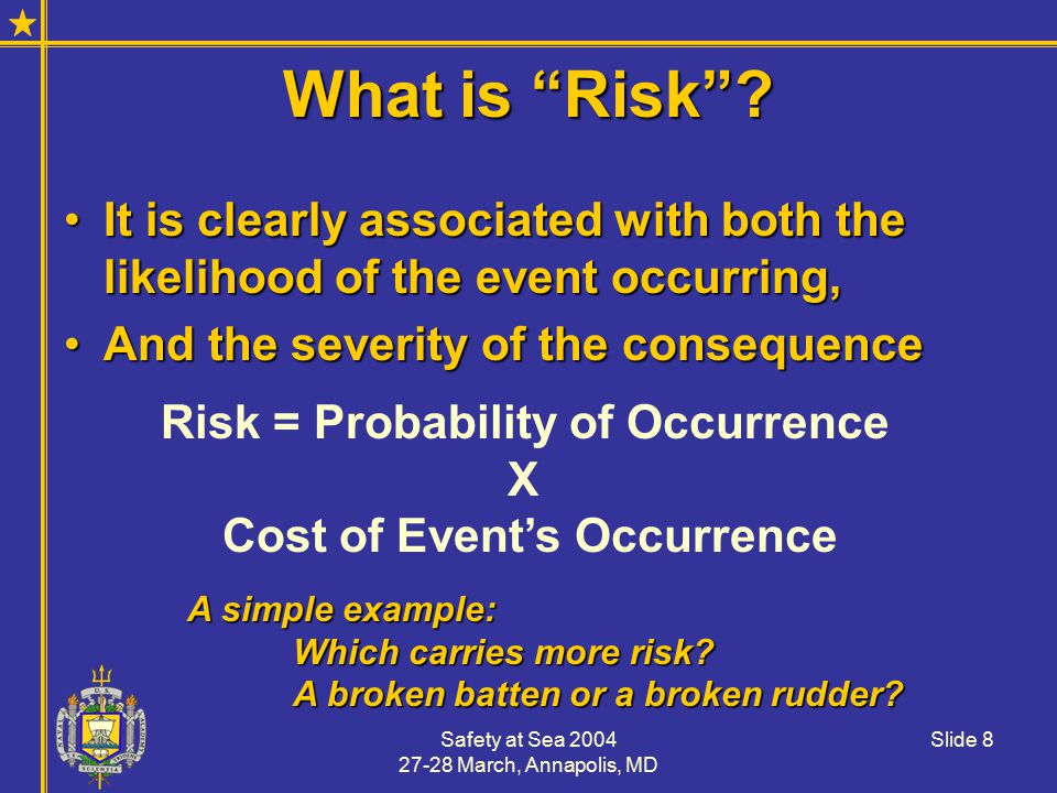 Safety at Sea 2004 27-28 March, Annapolis, MD Slide 9 The Supreme Court noted that, all activities have risk… safe does not mean the absence of risk.