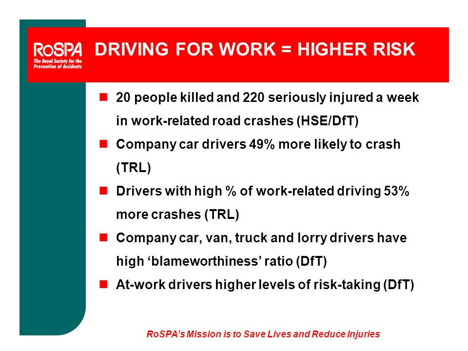 DRIVING FOR WORK = HIGHER RISK n20 people killed and 220 seriously injured a week in work-related road crashes (HSE/DfT) nCompany car drivers 49% more likely to crash (TRL) nDrivers with high % of work-related driving 53% more crashes (TRL) nCompany car, van, truck and lorry drivers have high 'blameworthiness' ratio (DfT) nAt-work drivers higher levels of risk-taking (DfT)