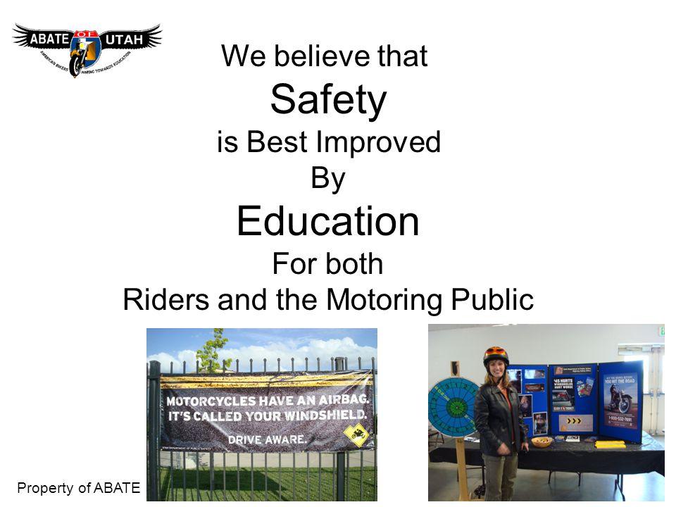 Property of ABATE Data on UTAH Motorcycles 1.How many Licensed Motorcycles in Utah.