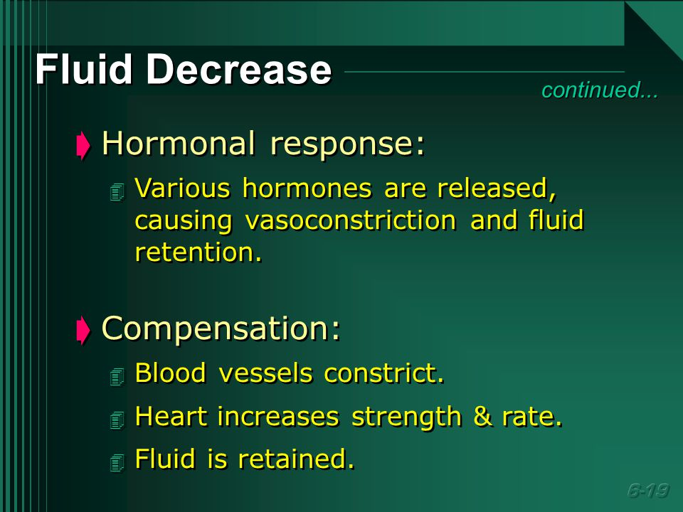 Fluid Decrease  Hormonal response: 4 Various hormones are released, causing vasoconstriction and fluid retention.