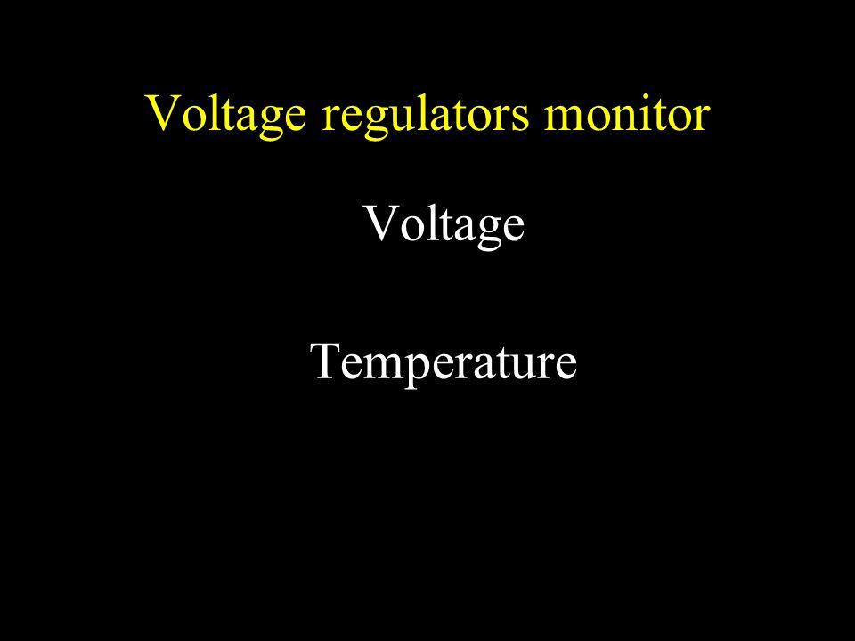 Voltage regulators monitor Voltage Temperature