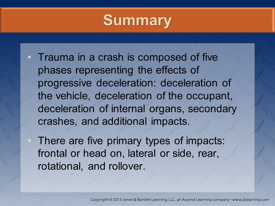 Summary Trauma in a crash is composed of five phases representing the effects of progressive deceleration: deceleration of the vehicle, deceleration o