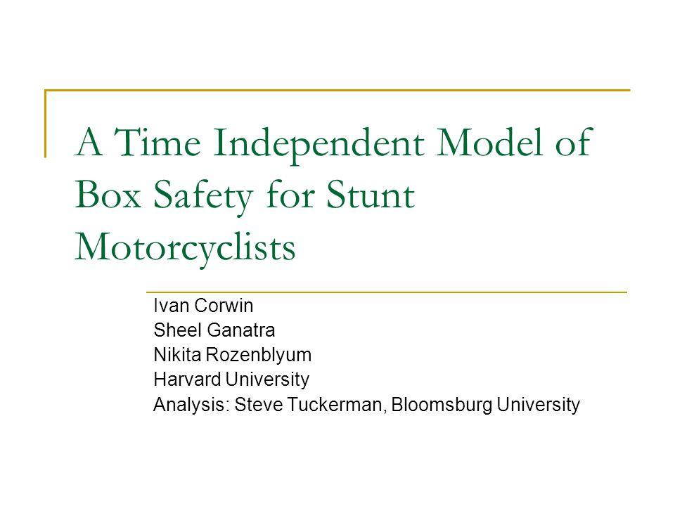 A Time Independent Model of Box Safety for Stunt Motorcyclists Ivan Corwin Sheel Ganatra Nikita Rozenblyum Harvard University Analysis: Steve Tuckerman, Bloomsburg University